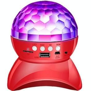 Draadloze Bluetooth Speaker 360 graden roterende Crystal Magic Ball Lights kleurrijke stage lichten  ondersteuning 32GB TF-kaart & AUX(Rood)