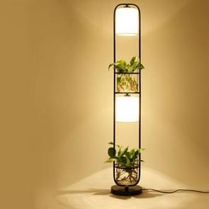 Modern Decoration Plant Flower Floor Lamp Fabric Lampshade Glass Study Stand Floor Light, US Plug