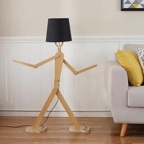 Eenvoudige persoonlijkheid creatieve massief houten lampen slaapkamer woonkamer Art verstelbare houding Humanoid vloer lamp (zwart)