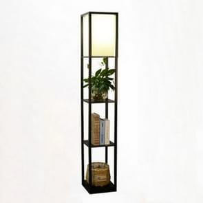 Four-storey Rack Living Room Bedroom Bedside Floor Lamp Shelf Light(Dark Brown)