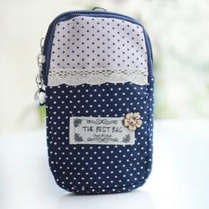 Polka Dot Kleine Bloemdoek Sport Running Double Arm Bag  Kleur:Small Navy Blue