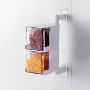 RP-042 Household Wall-mounted Rotating No Drilling Transparent Seasoning Box White, Size:Two Grids