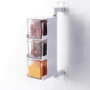 RP-042 Household Wall-mounted Rotating No Drilling Transparent Seasoning Box White, Size:Three Grids
