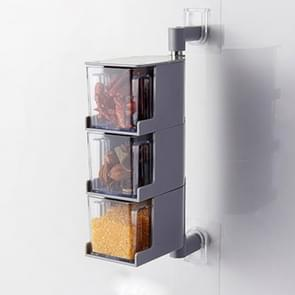 RP-042 Household Wall-mounted Rotating No Drilling Transparent Seasoning Box Grey, Size:Three Grids