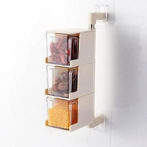 RP-042 Household Wall-mounted Rotating No Drilling Transparent Seasoning Box Beige, Size:Three Grids