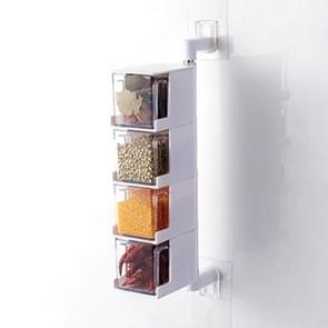 RP-042 Household Wall-mounted Rotating No Drilling Transparent Seasoning Box White, Size:Four Grids
