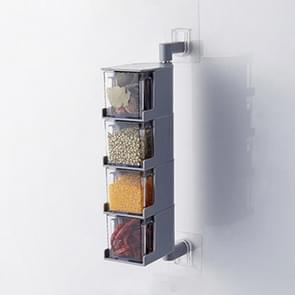 RP-042 Household Wall-mounted Rotating No Drilling Transparent Seasoning Box Grey, Size:Four Grids