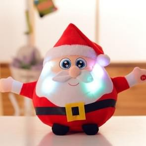 22CM Light Up Sing Christmas Song Colorful Glowing Luminous Plush Santa Claus Stuffed Doll Toys, Color:Santa Claus