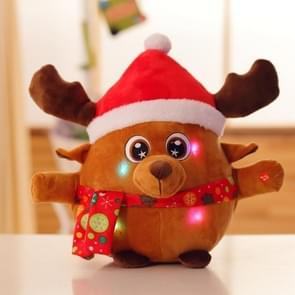 22CM Light Up Sing Christmas Song Colorful Glowing Luminous Plush Santa Claus Stuffed Doll Toys, Color:Deer