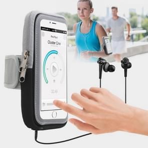 Sport Armband Belt Cover Running Transparent Bag for Mobile Phones below 5.5 inch(Grey)