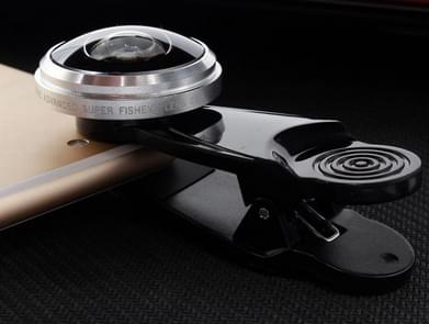 Super Fisheye Acrylic Lens Mobile Phone Universal Self-timer Special Effect Lens Mobile Phone External Lens(Silver)