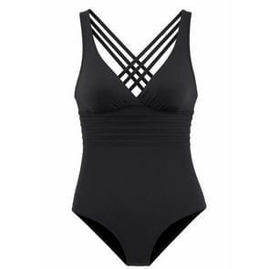 2 PCS One Piece Solid Women Vintage Deep V-neck Swimwear Beach Wear, Size:L(Black)