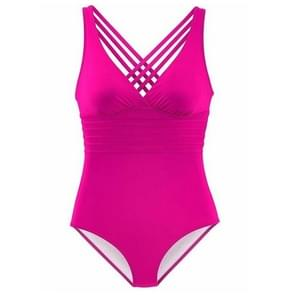 2 PCS One Piece Solid Women Vintage Deep V-neck Swimwear Beach Wear, Size:XL(Rose red)