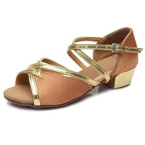 Tango Salsa Latin Low Heel Soft Bottom Dance Shoes for Girls & Women, Shoe Size:25(Brown)