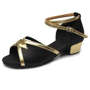 Tango Salsa Latin Low Heel Soft Bottom Dance Shoes for Girls & Women, Shoe Size:27(Black)