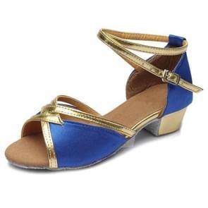 Tango Salsa Latin Low Heel Soft Bottom Dance Shoes for Girls & Women, Shoe Size:33(Blue)