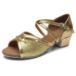 Tango Salsa Latin Low Heel Soft Bottom Dance Shoes for Girls & Women, Shoe Size:40(Gold)