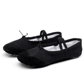 2 Pairs Flats Soft Ballet Shoes Latin Yoga Dance Sport Shoes for Children & Adult, Shoe Size:25(Black)