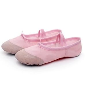 2 Pairs Flats Soft Ballet Shoes Latin Yoga Dance Sport Shoes for Children & Adult, Shoe Size:31(Pink)
