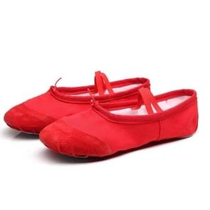 2 Pairs Flats Soft Ballet Shoes Latin Yoga Dance Sport Shoes for Children & Adult, Shoe Size:36(Red)