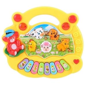 Musical Instrument Toy Baby Kids Animal Farm Piano Developmental Music Educational Toys for Children Gift(Yellow)