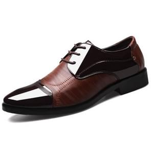 Fashion Men Leather Soft Business Casual Shoes, Size:47(Brown)