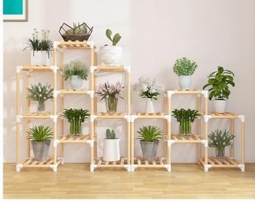 BRIDAY  Flower Frame Solid Wood Potted Carrot Wood Frame Hall Balcony Multilayer Potted Wood Frame(Yellow)