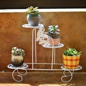 Mini Wrought Iron Multi-function Flower Pot Flower Stand for Office Desktop Sill Balcony(White)