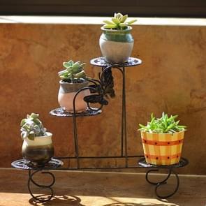 Mini Wrought Iron Multi-function Flower Pot Flower Stand for Office Desktop Sill Balcony(Black)