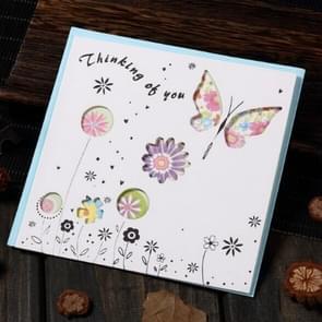 5 PCS Creative Cutout Mooie Verjaardag Wenskaart (Thinking Butterfly )