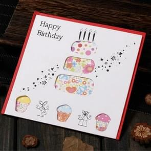 5 PCS Creative Cutout Beautiful Birthday Greeting Card(Birthday Cake)