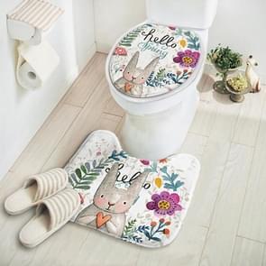 Cut Cartoon Animal Pattern Absorbent Non-Slip Pedestal Rug Lid Toilet Cover Bath Mat(Flower Rabbit)