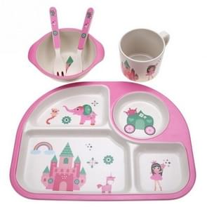 5 PCS/set Eco-friendly Bamboo Fiber Baby Plate Dishes 4 Slots Children Tableware Dishes Dinnerware(Pink)