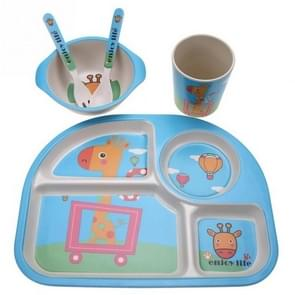 5 PCS/set Eco-friendly Bamboo Fiber Baby Plate Dishes 4 Slots Children Tableware Dishes Dinnerware(Blue)