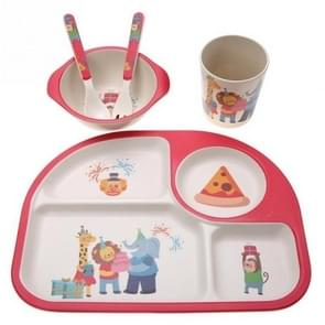 5 PCS/set Eco-friendly Bamboo Fiber Baby Plate Dishes 4 Slots Children Tableware Dishes Dinnerware(Red)
