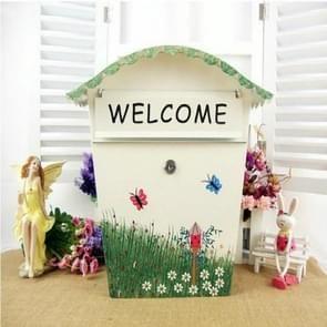 Painted Lock Mailbox Small Mailbox Waterproof Wall Can be Printed Word Suggestion Box, Style:Welcome Version