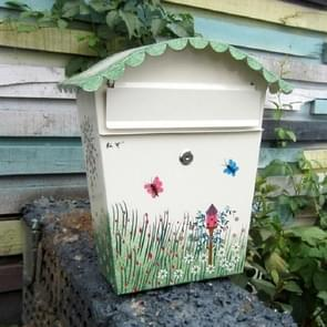 Painted Lock Mailbox Small Mailbox Waterproof Wall Can be Printed Word Suggestion Box, Style:Delivery Port Blank Version