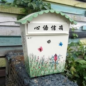 Painted Lock Mailbox Small Mailbox Waterproof Wall Can be Printed Word Suggestion Box, Style:Delivery Print (Within 7 Words)
