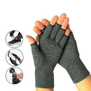 Half Finger Cycling Gloves Arthritis Pressure Health Gloves High Elastic Breathable Anti-edema Rehabilitation Riding Glov, Size:L(Gray)