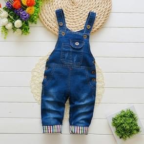 Children Button Denim Bib Pants, Size:90cm(Blue)