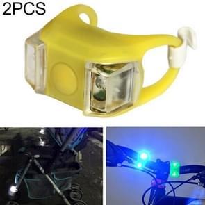 2 stks buiten nacht silicone voorzichtigheid lamp fiets licht mountainbike decoratie veiligheidswaarschuwing licht achterlicht (geel)