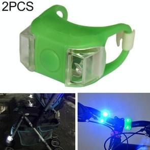 2 stks buiten nacht silicone voorzichtigheid lamp fiets licht mountainbike decoratie veiligheidswaarschuwing licht achterlicht (groen)