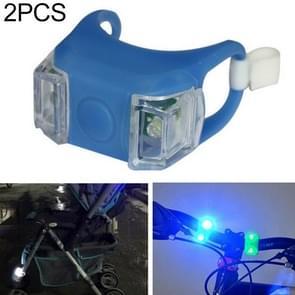 2 stks buiten nacht silicone voorzichtigheid lamp fiets licht mountainbike decoratie veiligheidswaarschuwing licht achterlicht (blauw)