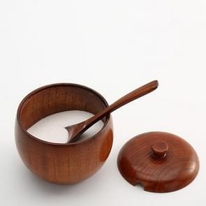 Creative Vintage Wood Spice Jar Kitchenware, Type:Salt Shaker+Spoon