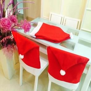 Chair Back Cover Santa Clause Red Hat for Home New Year Decor