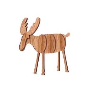 2 PCS Christmas Decorations Wooden DIY Elk Decorations Children Creative Gifts Desktop Decoration, Size:S(Wood Color)