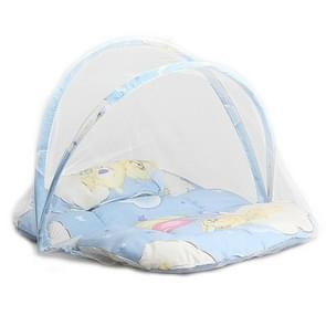 Spring Summer Portable Foldable Baby Crib With Mosquito Net(Blue)