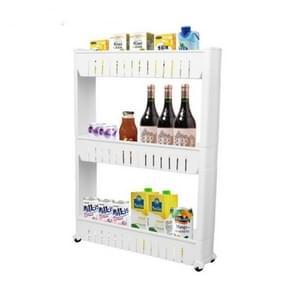 Multifunctionele badkamer opslag rack plank meerlaagse koelkast kant plank met verwijderbare wielen (drie laag wit)