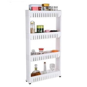 Multifunctionele badkamer opslag rack plank meerlaagse koelkast kant plank met verwijderbare wielen (vier laag wit)