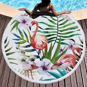 Printed Round Beach Towel Yoga Mat with Tassel, Size:150x150cm(Flamingo + Flower)